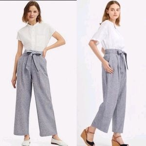 UNIQLO Belted Linen Blend Wide Straight Leg Pants